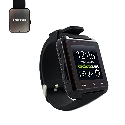 ANDROSET Bluetooth Smart Watch Touch Screen with Mic for iPhone and Android, Samsung S4 S5 Note 2 Note 3 HTC (BLACK)