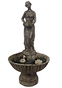 "44"" Lighted LED Lady with Lily Flowers Outdoor Garden Water Fountain"