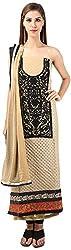 DESINER CLOTHLINE Women's Georgette Unstitched Dress Material (Cl-18, Light Brown And Black)