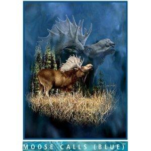 Moose Calls Blue Mink Plush Blanket Queen Size - Signature Collection