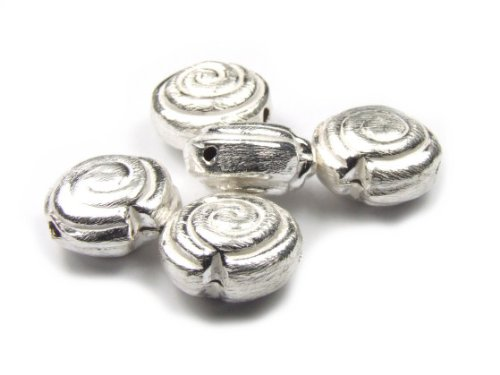 1 Metallperlen, gebürstet, Schnecken, 15x7 mm