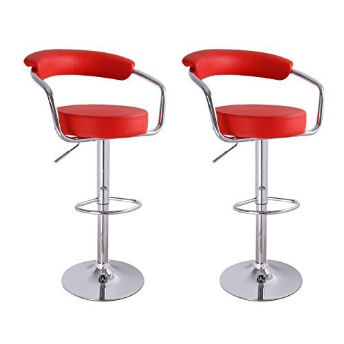 Red Leatherette Barstool Chair