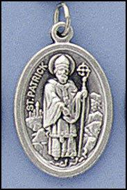 100 Piece Pack, Patron Saints Medals, St. Patrick & St. Bridget, Italian Oxidized Silver.