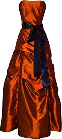 Bridesmaid Prom Holiday Formal Long Dress Junior Plus Size, XS, Orange