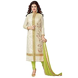ZHot Fashion Women's Embroidered un-stitched Dress Material In Cotton Fabric (ZHASW1006) Beige and light Green