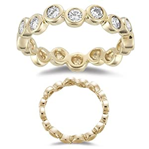 0.56 Cts Diamond Stack Band in 14K Yellow Gold-6.5