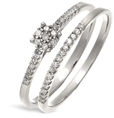 Ariel 9ct White Gold 0.16ct Diamond Bridal Set Ring