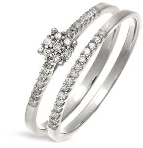 Ensemble Bague de fiançailles et alliance Femme - Or Blanc 375/1000 (9 Cts) 1.7 Gr - Diamant - T 49