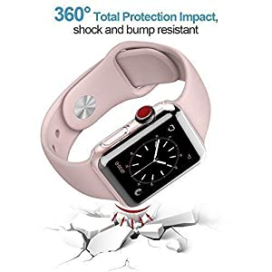 ?2 Pack? CTYBB Compatible with 44mm Apple Watch Series 4 Case with Screen Protector 44mm, Built in Soft Transparent 360° Full Protective Cover for Apple Watch Case Series 4 (42 mm) (Tamaño: 42 mm)