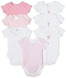 Spasilk 100% Cotton Assorted Short Sleeve Lap Shoulder 7-Pack Bodysuit - Girl, Newborn