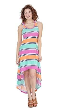 (74990R) Classic Designs Stripe Print Racerback Hi Lo Maxi Dress in Jersey Spun Spandex (Sizes S-4X) in Aqua Stripe Size: L