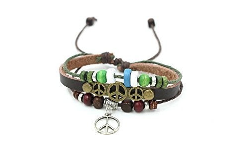 Wild Wind (TM) Aeroplane Button Studded Wooden Cubic Bead Multi-Strand Adjustable Leather Wrap Bracelet
