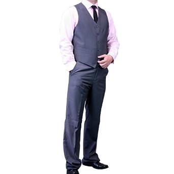 Dolce Vita 3 Piece Fashion Fit Suit - Plain Grey-Size: 38S-Sleeve: Short-Chest: 38