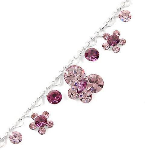 Glamorousky Heart Chained Bracelet With Flower And Butterfly Charms And Purple Swarovski Element Crystals (1153)
