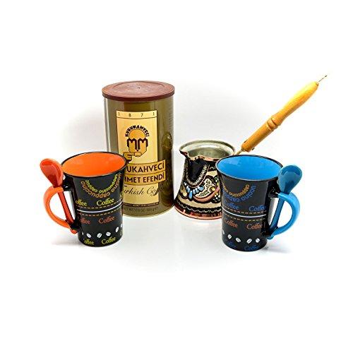 Mehmet Efendi Turkish Coffee - Trendy Ceramic Coffee Mugs - With Decorated Turkish Coffee Pot