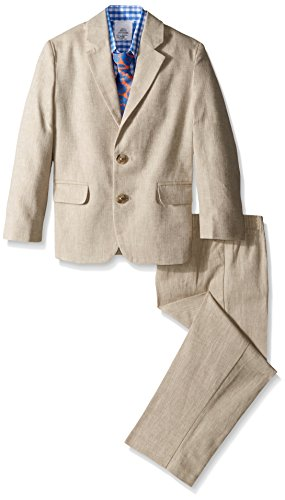 IZOD Kids Little Boys' Herringbone Suit Set, Khaki, 7