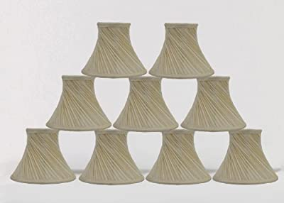Urbanest 1101003d Set of 9 Swirl Pleated Chandelier Lamp Shades 6-inch, Bell, Clip On, Cream