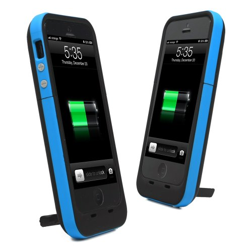 Special Sale KAYSCASE Power2500 Battery Cover Case for Apple new iPhone 5 / iPhone 5S Charge and Sync with Lightning Port One Year Warranty (Blue)