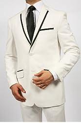 Classy Men's 2 Button 2 Piece White and Black Slim Fit Suit