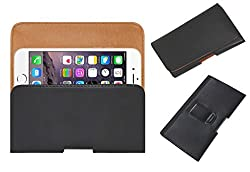 Acm Belt Holster Leather Case For Apple Iphone 6 Mobile Cover Holder Clip Magnetic Closure Black