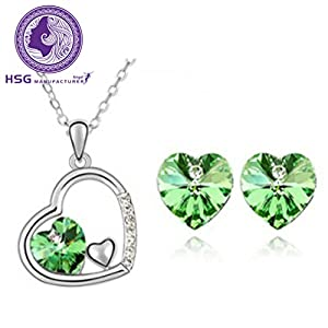 HSG Green Heart Crystal Jewelry Set Secret Language of Love Jewelry Heart Shape Earrings & Necklace