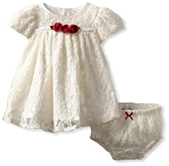 Hartstrings Baby-Girls Newborn Knit Lace Dress And Diaper Cover Set, Sugar Creme, 0-3 Months