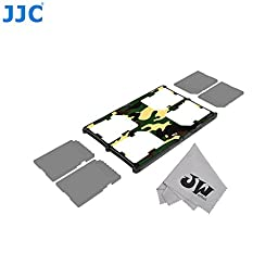 JW MCH-SD4YG Credit Card Size Durable Lightweight Portable Memory Card Case Holder Protector With Writable Label For 4 SD Cards + JW Cleaning Cloth