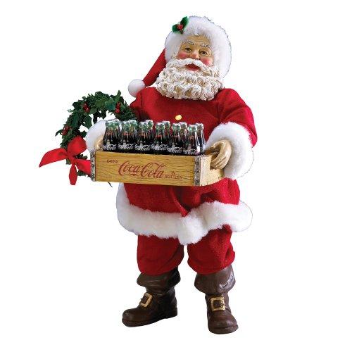 Coca-Cola Kurt Adler Coke Santa with Crate of Coke Bottles, 10.5-Inch