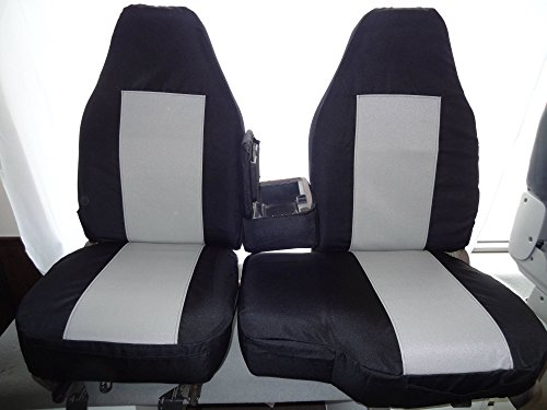 Durafit Seat Covers, 1991-1997 -Ford Ranger and Explorer High Back 60/40 Split Bench with Opening Console Seat Covers in Black Twill with Gray Twill Inserts (1996 Ford Ranger Seat Covers compare prices)