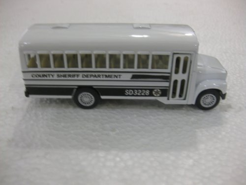 Diecast County Sheriff Department School Bus 5' Long 1.5' Wide 1.5 Tall Edition with Opening Door & Pull Back Action Manufactured by Kins Fun