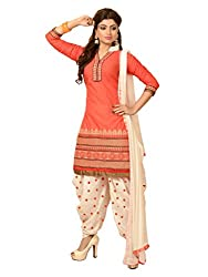 RADHE STUDIO Peach and White Color Cotton Embroidered Salwar Suit With Cotton Bottom And Chiffon Dupatta