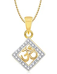Om Pendants Lockets With Chain In Pendants & Lockets For Men Women In American Diamond Cz Jewellery Gifts Gold... - B014UTFKEM