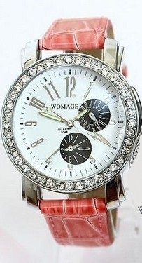 Pink Crocodile Leather Watch With Faux Chronograph Face. Crystal Rhinestones Around Bezel