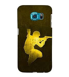 Army man With Gun 3D Hard Polycarbonate Designer Back Case Cover for Samsung Galaxy S6 Edge :: Samsung Galaxy Edge G925