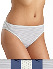 5 Pack Cotton Rich Striped High Leg Knickers