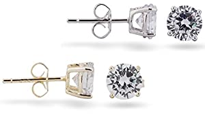 SilverLuxe 925 Cubic Zirconia Stud Earrings 6mm, Gold and Rhodium Plated, SET of 2