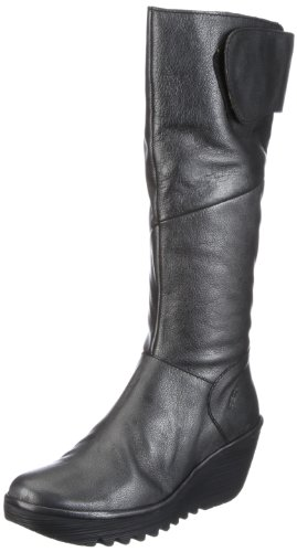 Fly London Women's Yule Leather Black Platforms Boots P500043023 7 UK