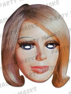 Lady Penelope Thunderbirds Character Face Card Mask, Impersonation/Fancy Dress