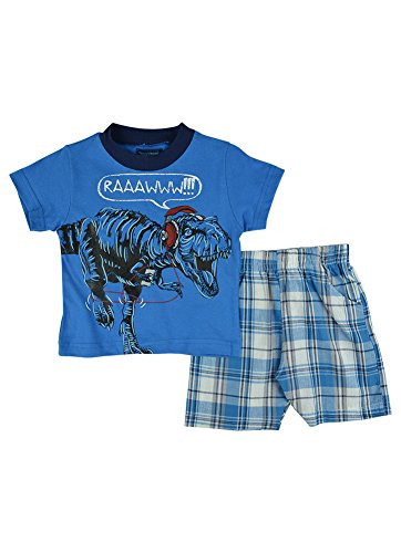 Alfa Global Baby Boy'S Infant Dinosavaur Printed Shirt And Short 2 Pcs. Set Blue 24 Months back-304145
