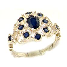 buy Unusual Solid 14K White Gold Natural Sapphire Ring With English Hallmarks - Size 6 - Finger Sizes 5 To 12 Available