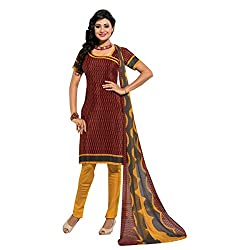 Triveni Women's Crape Salwar Kameez Dress Material (TSTZSK405_Brown)