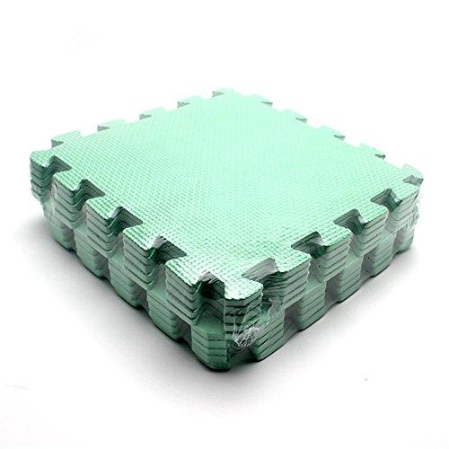 10 Stück Baby Puzzle Spielen Spielzeug Bodenpuzzlematten Verriegelung Schaum Krabbeln Matte Naht Decken Grün