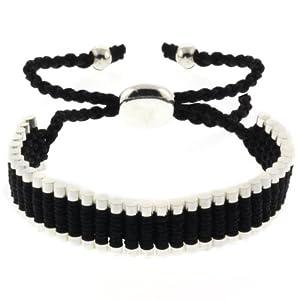 Black and Silver Color String 5-10 Inche Adjustable Friendship Bracelet