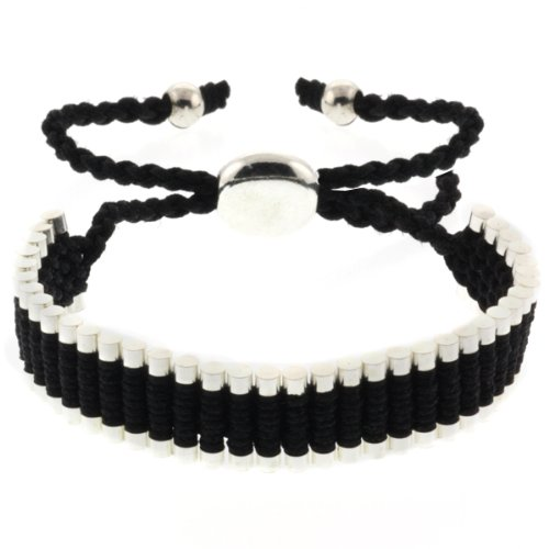 Black and Silver Color String 5-10 Inche Adjustable Friendship Bracelet