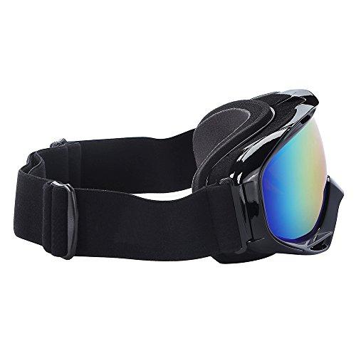 black snowboard goggles  goggles - over glasses