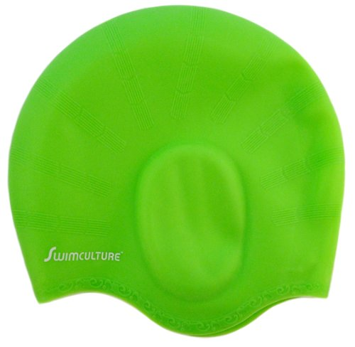 The Original Silicone Swim Cap for Long Hair with Ergonomic Ear Pockets to Cover Ears - Covered by Swim Culture's Industry Leading Lifetime Warranty - Unisex for Women and Men - Lightweight and Comfortable for Adults and Children, Girls and Boys - Gre...