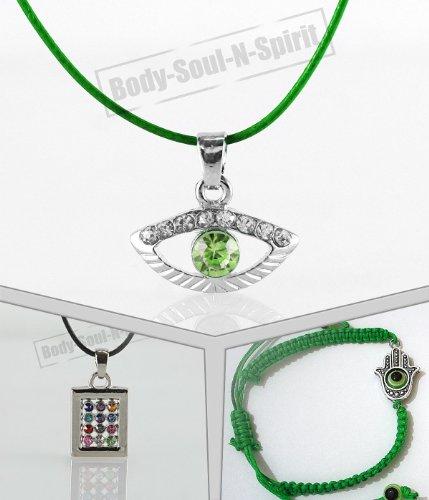 Green Evil Eye Kit Hoshen Shield Necklace Jewish Israel Pendant Kabbalah Jewelry