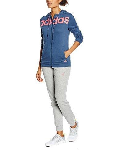 Adidas Ess Linear Cott Tuta per Donna, Blu/Rosa (Azumin/Rubsup), L
