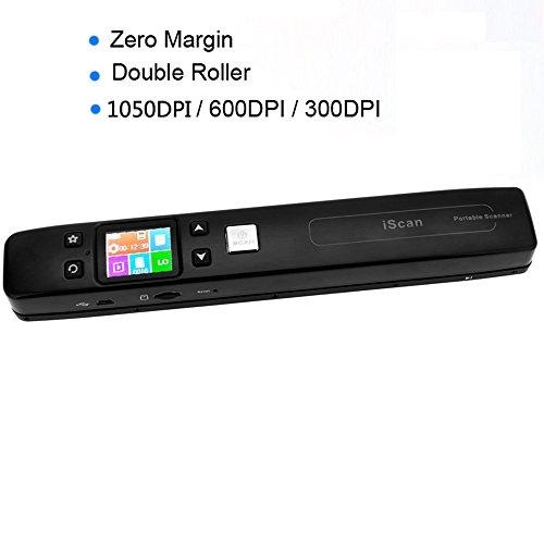 Andoer iScan, portatile, numerico, senza fili, Wi-Fi, Scanner documenti, opere ricevute per foto, con doppio rullo zero margine 1050DPI JPG/TF formato PDF Card sans wifi