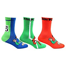 Bonjour Kids Cotton Crew Length Multicolor Pack of 3 Pairs Ben10 Socks (03(5-8 Years))